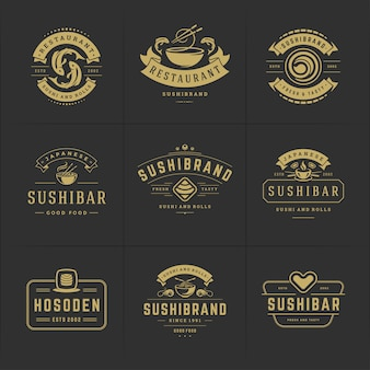 Набор логотипов суши-ресторана