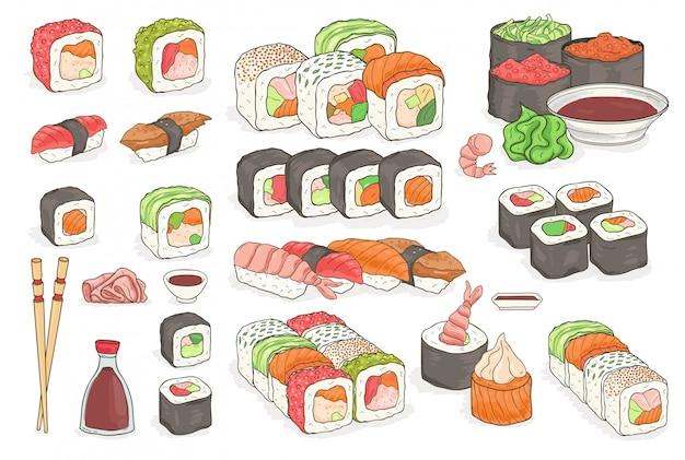 寿司、ロール、わさび、醤油、生姜、箸のセット。日本の伝統的なシーフード料理。手描きの要素、カラフルなイラスト集。