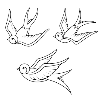 白い背景のツバメタトゥーテンプレートのセット。鳥のアイコン