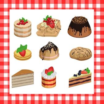 赤い格子縞の背景に甘い食欲をそそるケーキのセット