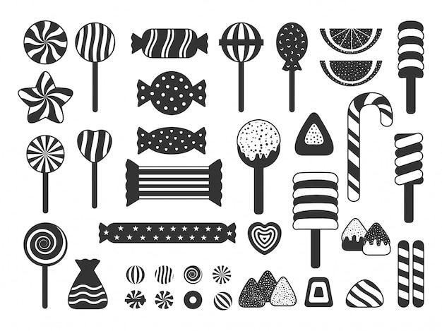 달콤한 사탕 아이콘 실루엣의 집합입니다. 젤리, 사탕 지팡이 구색, 롤리팝, 당의정, 하트 캔디, 마시멜로. 디자인 포스터 어린이 휴가, 배너에 적합 프리미엄 벡터