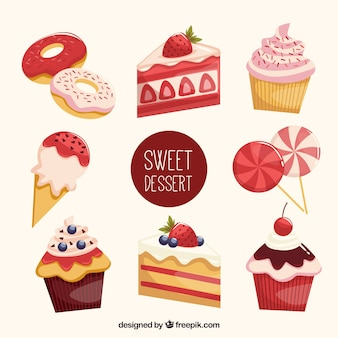 Set of sweet desserts in flat style