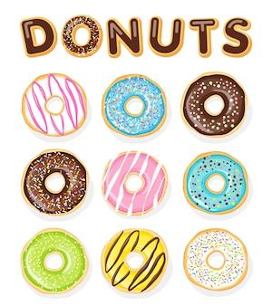 Набор сладких пончиков на белом. иллюстрация еды.
