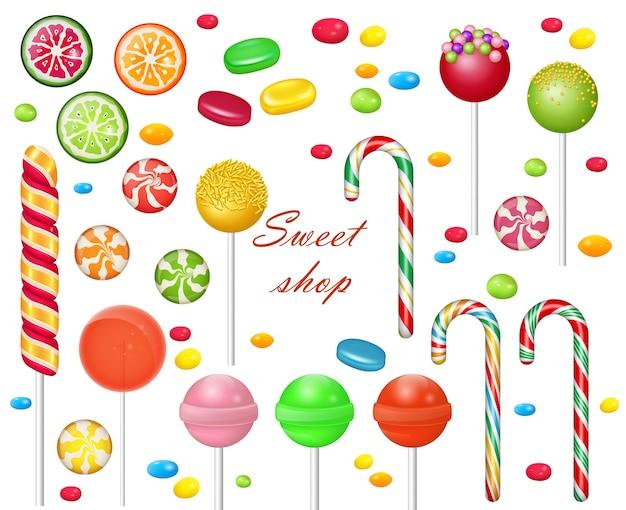 白い背景の上のお菓子のセットです。お菓子やおやつ。 -飴玉、キャンディケイン、ロリポップ。