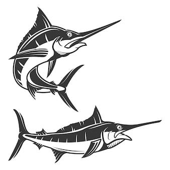 Комплект иллюстрации меч-рыб на белой предпосылке. элементы для логотипа, этикетки, эмблемы, знака, торговой марки.