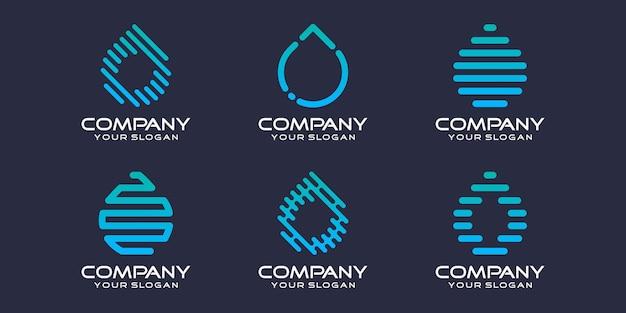 シンボルのセットドロップテクノロジー、ドロップレット複合要素デジタルテクノロジー。ロゴデザインテンプレート