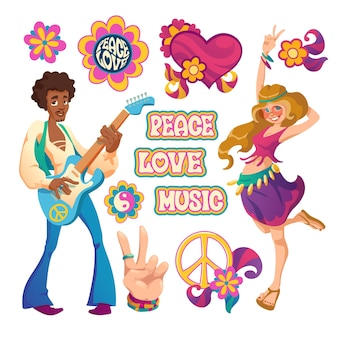Набор символов культуры хиппи с сердцами, цветами, жестом руки, счастливой женщиной и мужчиной с изолированной гитарой