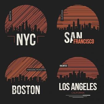 Набор дизайнов футболок с силуэтами городов сша