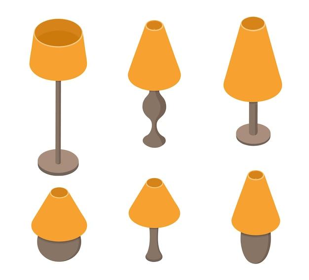 テーブルランプのセット。オレンジ色の光。家庭用電灯ツール。古い学校のランプシェード。ベクトルイラスト。