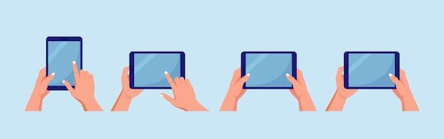 Набор планшетных пк. руки держатся и указывают на экран гаджета. человек трогает пустой экран планшетного компьютера
