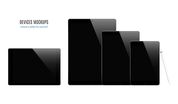 白い背景で隔離の黒いスクリーンセーバーとタブレットの黒い色のセット。リアルで詳細なデバイスのモックアップ