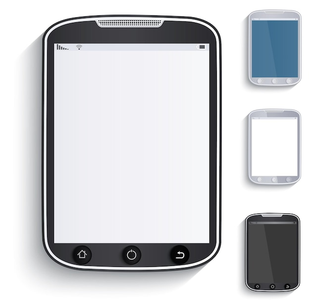 タブレット、タッチスクリーン携帯電話のセット。紙のスタイル