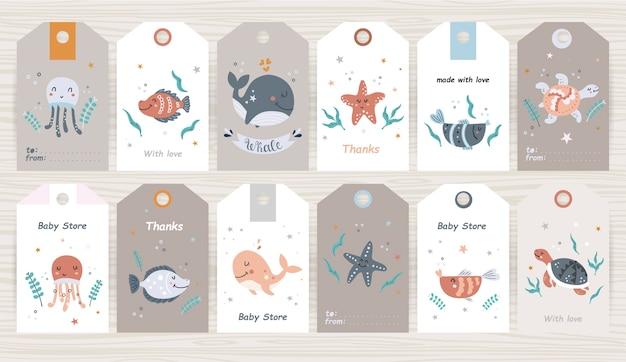 Набор тегов с морскими животными для девочки и мальчика. идеально подходит для детских магазинов, упаковки продуктов