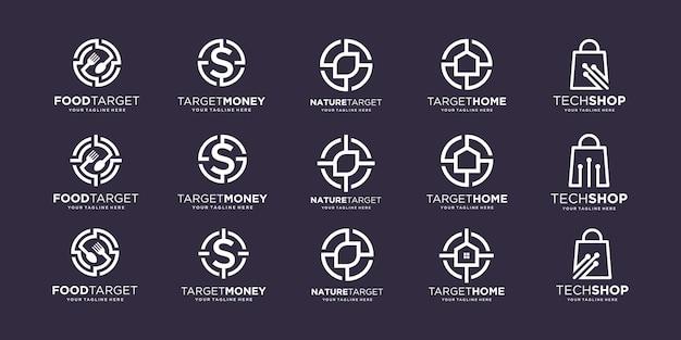Набор целевого шаблона дизайна логотипа.