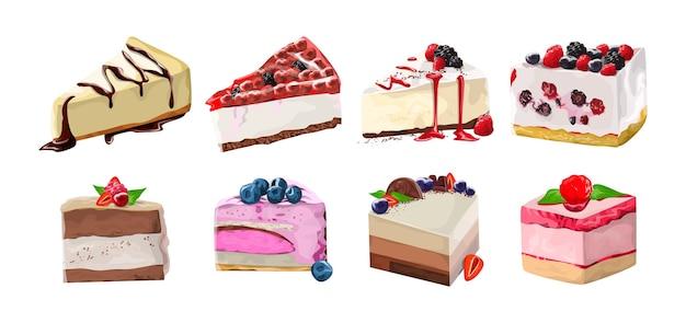 Набор вкусный вкусный десерт. реалистичные кусочки торта с ягодами. сладкая нездоровая пища. иллюстрация