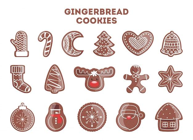 크리스마스 저녁 식사를위한 맛있는 맛있는 진저 쿠키의 집합입니다. 나무와 눈송이의 모양에 수 제 디저트의 컬렉션입니다. 삽화