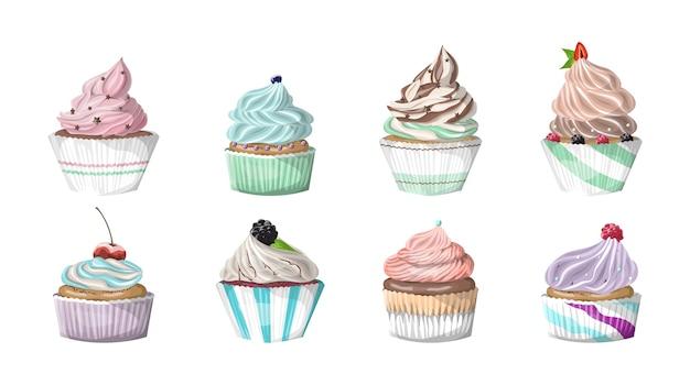 크림과 함께 맛있는 맛있는 현실적인 베리 컵 케이크의 집합입니다. 달콤한 정크 푸드. 격리 된 벡터 일러스트 레이 션