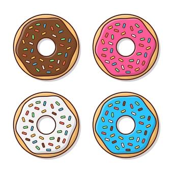 Набор вкусных пончиков с глазурью.