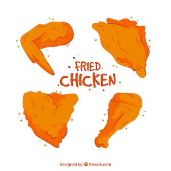 맛있는 손으로 그린 프라이드 치킨 세트