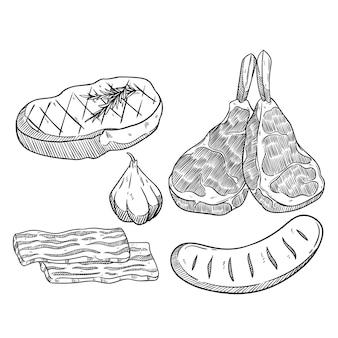 Набор вкусного мясного стейка с рисованной стилем
