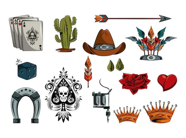 문신 그림 요소 컬렉션 집합