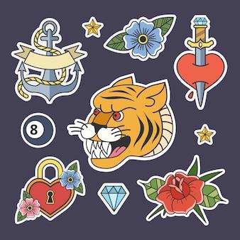 古い学校のスタイルでタトゥーのセットです。ヴィンテージレトロなバラとナイフ、愛とダイヤモンド。図