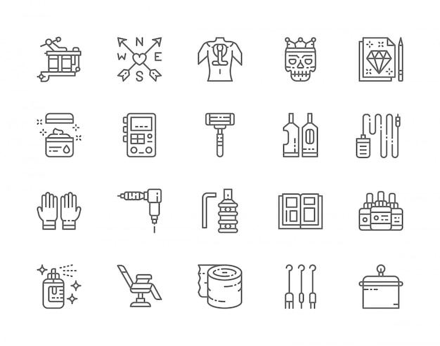 タトゥースタジオラインアイコンのセット。タトゥーマシン、ワセリン、パワーマシンサプライ、使い捨てカミソリ、ゴム手袋、インクボトル、椅子、アフターケア包帯など。 48x48ピクセルアイコンのパック
