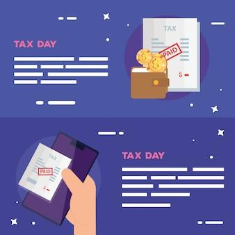 Набор налогового дня баннер с элементами