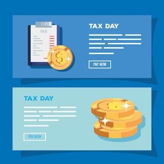 Набор налогового дня баннер с деньгами и буфера обмена