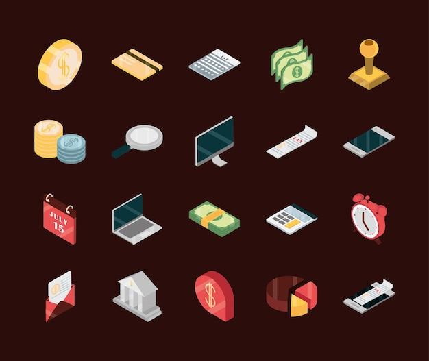 등각 투영 뷰에서 디지털 세금 지불 돈 세트