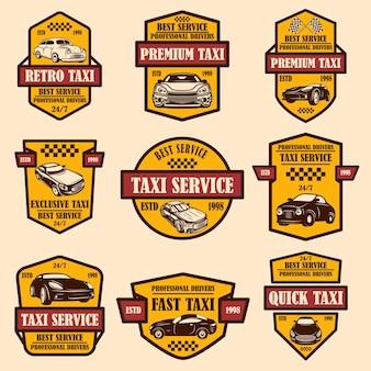 택시 서비스 엠블럼 세트입니다. 로고, 레이블, 기호, 포스터, 카드 디자인 요소입니다.