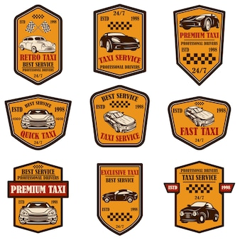 택시 서비스 엠블럼 세트입니다. 포스터, 카드, 배너, 로고, 레이블, 기호 디자인 요소입니다. 벡터 일러스트 레이 션
