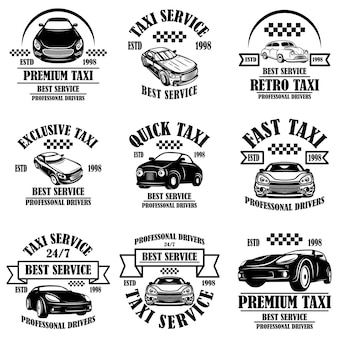 택시 서비스 엠블럼 세트입니다. 포스터, 카드, 배너, 로고, 레이블 디자인 요소입니다. 벡터 일러스트 레이 션