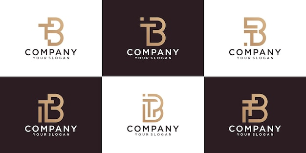 Tb初期モノグラム文字ロゴテンプレートのセット。ビジネス、コンサルティング、デジタルテクノロジー向けのゴールドカラーアイコン付き