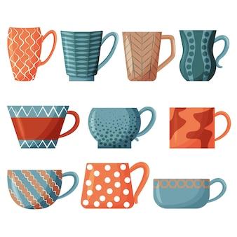 찻잔 세트 아침 차를 마시는 다채로운 컵 디자인 요소