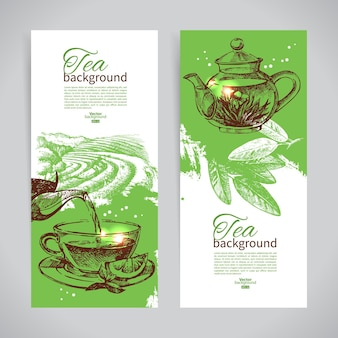 お茶のビンテージバナーのセットです。手描きスケッチイラスト。メニューデザインの背景