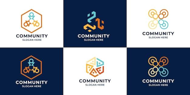 Набор коллекции логотипов команды или логотип сообщества