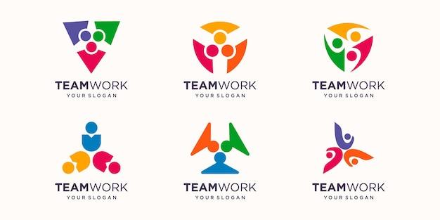 チームワークのロゴのセット。ベクトルイラスト