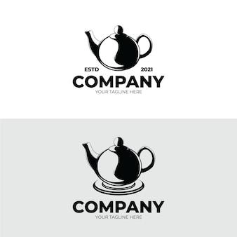 ティーポットのロゴデザインのセット