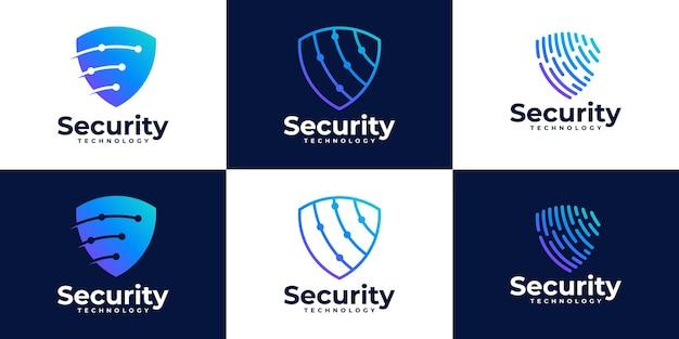 Набор шаблонов дизайна логотипа безопасности tech shield