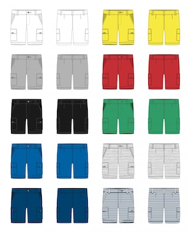 Комплект технического эскиза грузовых шорт, штаны, шаблон