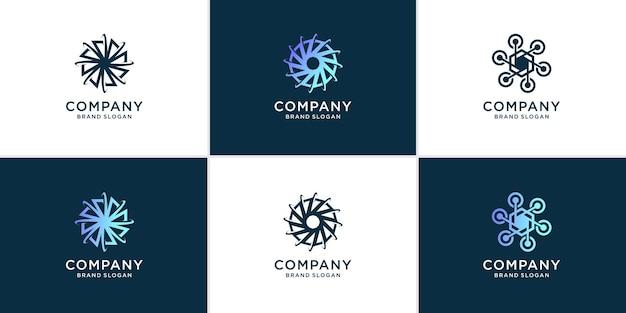 Набор абстрактных технологий логотипа в современном стиле premium векторы