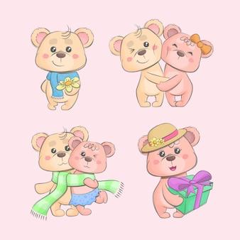 Набор пара плюшевых мишек, изолированных на розовом