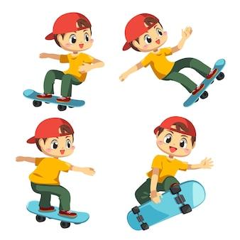 スケッチボードで楽しんでいる10代の少年のセット