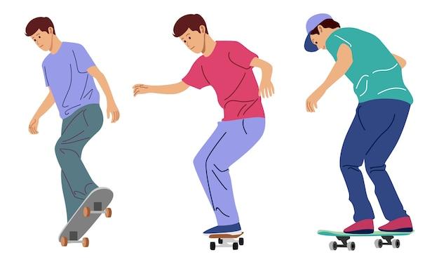 Набор подростка, играющего на скейтборде