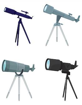 삼각대에 망원경의 집합입니다.
