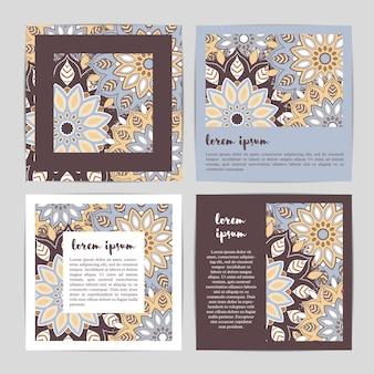 손으로 그린 꽃 만다라와 템플릿 카드의 세트.