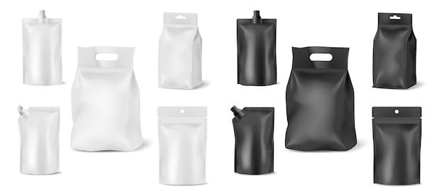 テンプレート食品パッケージ、doyパック、スタンドアップバッグ、白い背景で隔離のジッパーポーチのセットです。ブランディング用に編集可能な3dブランクモックアップサシェプラスチックまたは紙。ベクトルイラスト