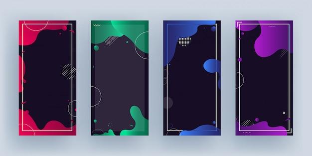 あなたのメッセージのためのスペースと黒の異なる色の流体芸術効果を持つテンプレートまたは垂直バナーのセット。
