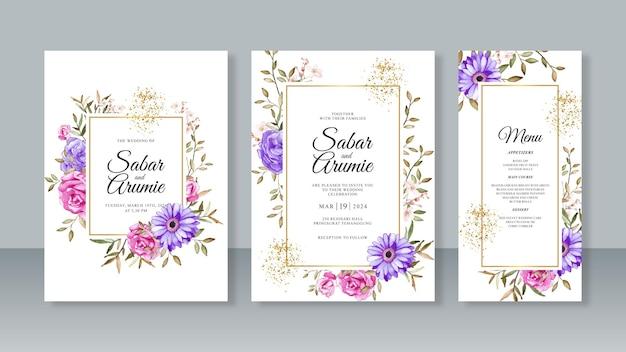 꽃 수채화 그림 템플릿 웨딩 카드 초대장 세트